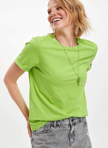 DeFacto Basic Kısa Kollu T-shirt Yeşil